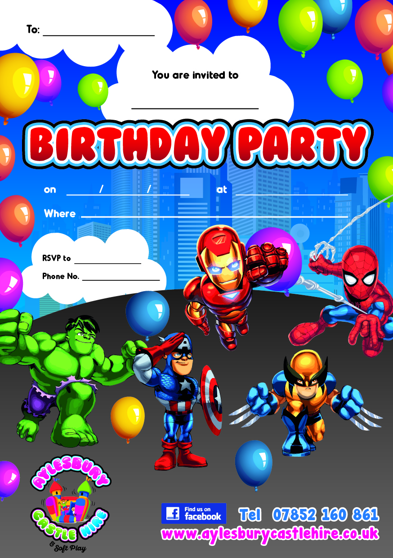 Superhero Party Invites Uk Images Wedding And Party Invitation – Bouncy Castle Party Invitations