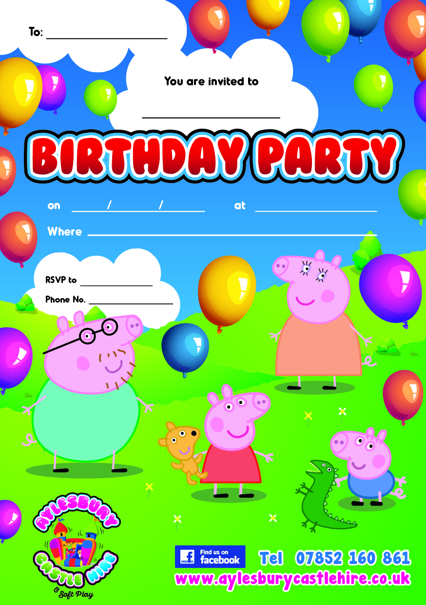 Peppa Pig Party Invites - Bouncy Castle Hire in Aylesbury ...